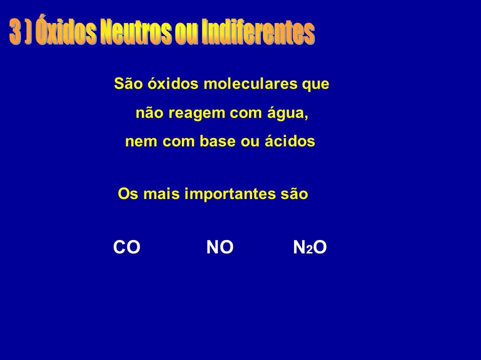 São óxidos moleculares que Os mais importantes são