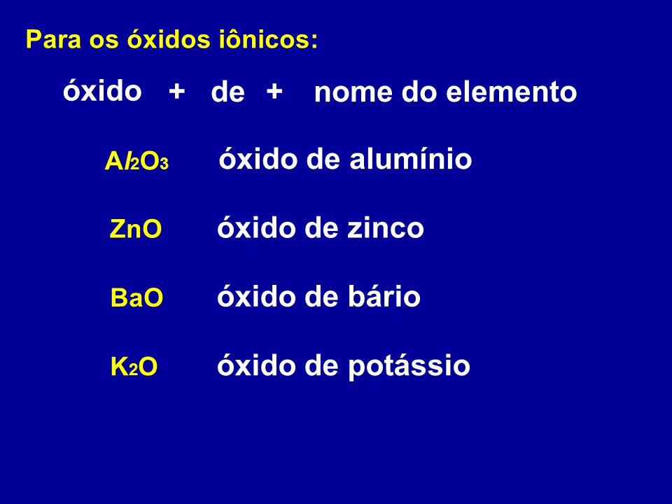 óxido + de + nome do elemento óxido de alumínio óxido de zinco
