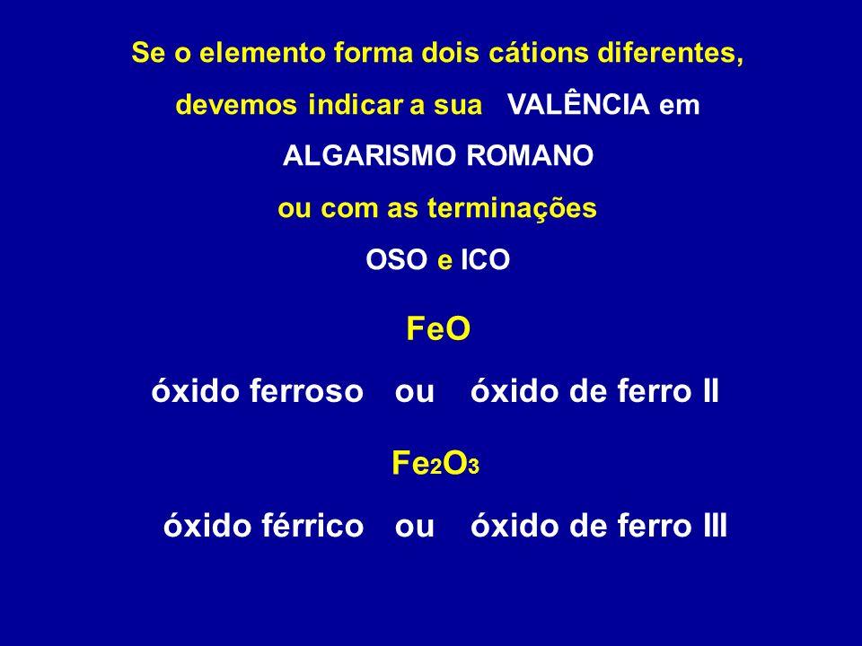 óxido ferroso ou óxido de ferro II óxido férrico ou óxido de ferro III