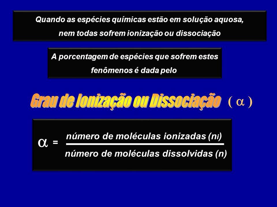 a ( a ) Grau de Ionização ou Dissociação