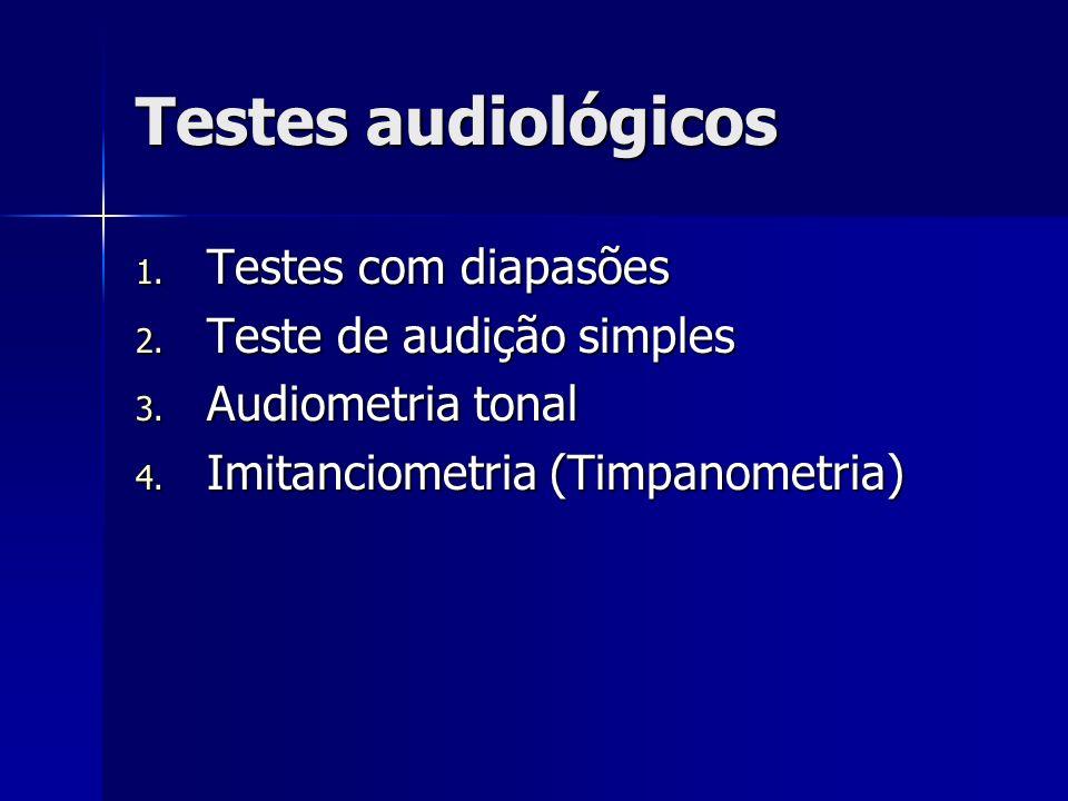 Testes audiológicos Testes com diapasões Teste de audição simples