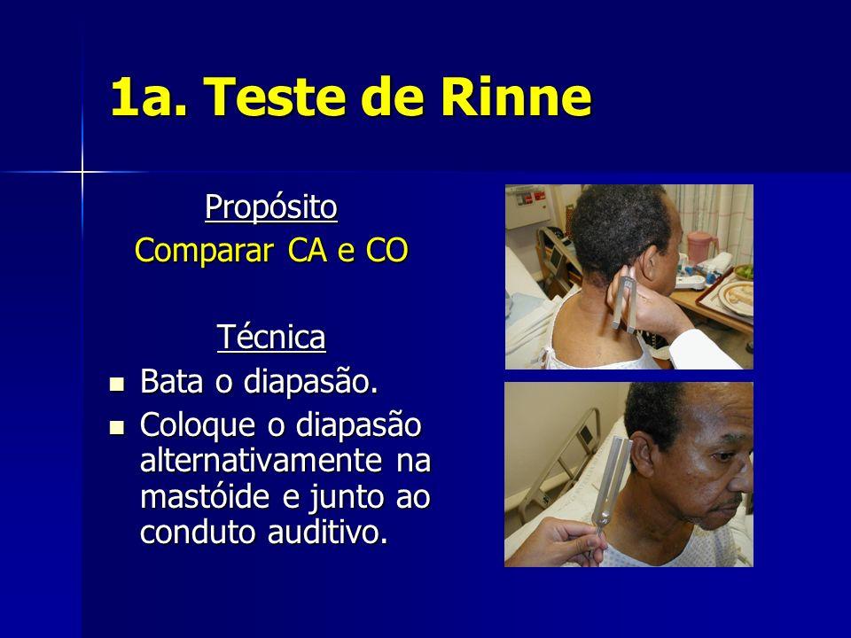 1a. Teste de Rinne Propósito Comparar CA e CO Técnica Bata o diapasão.
