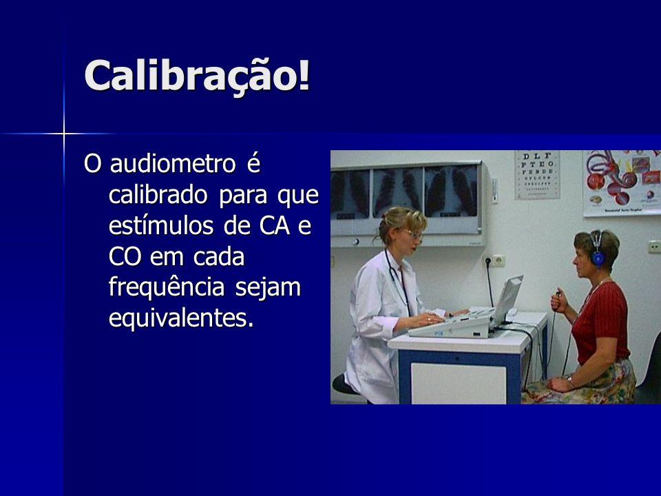 Calibração!O audiometro é calibrado para que estímulos de CA e CO em cada frequência sejam equivalentes.