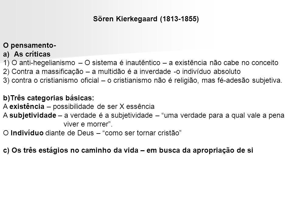 Sören Kierkegaard (1813-1855) O pensamento- As críticas. 1) O anti-hegelianismo – O sistema é inautêntico – a existência não cabe no conceito.