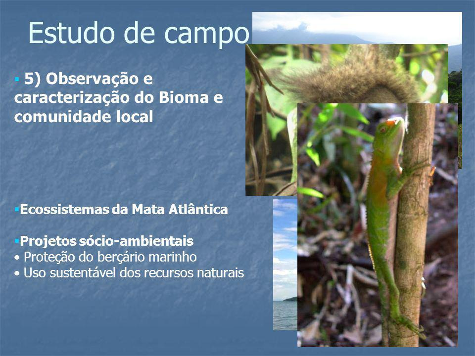 Estudo de campo 5) Observação e caracterização do Bioma e comunidade local. Ecossistemas da Mata Atlântica.