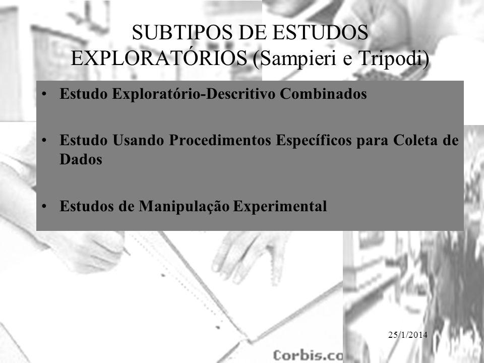 SUBTIPOS DE ESTUDOS EXPLORATÓRIOS (Sampieri e Tripodi)