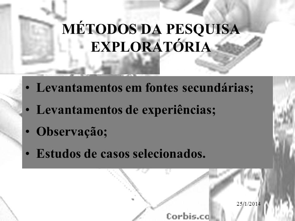 MÉTODOS DA PESQUISA EXPLORATÓRIA