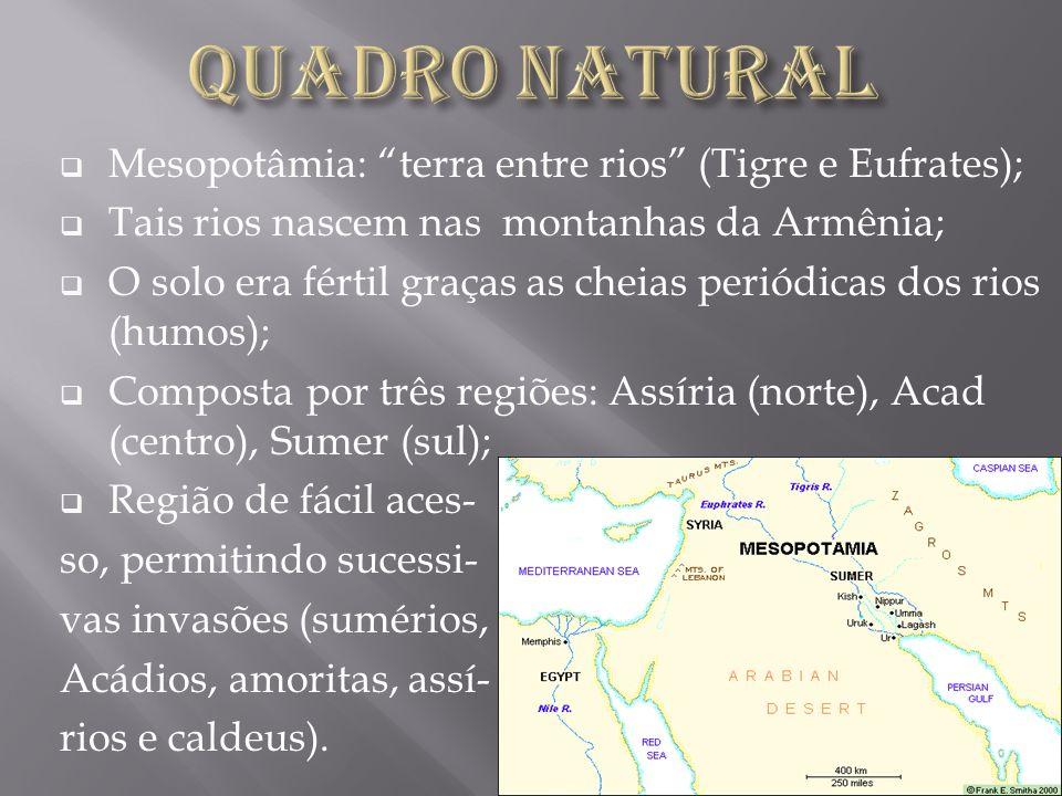 Quadro Natural Mesopotâmia: terra entre rios (Tigre e Eufrates);