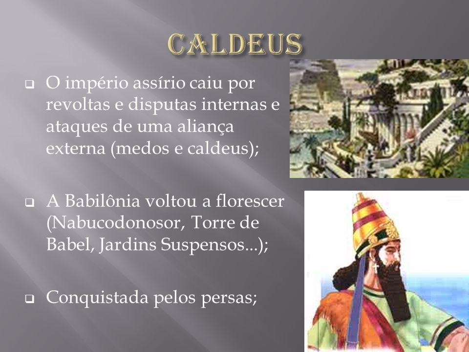 Caldeus O império assírio caiu por revoltas e disputas internas e ataques de uma aliança externa (medos e caldeus);