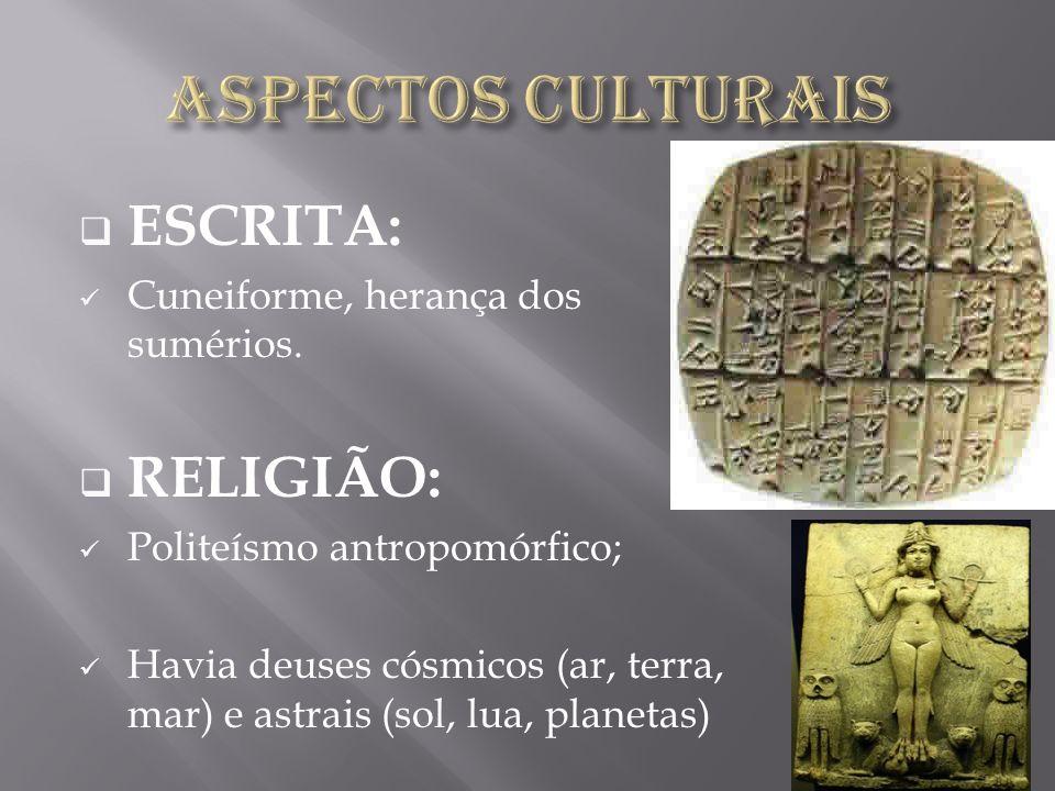 ASPECTOS CULTURAIS ESCRITA: RELIGIÃO: