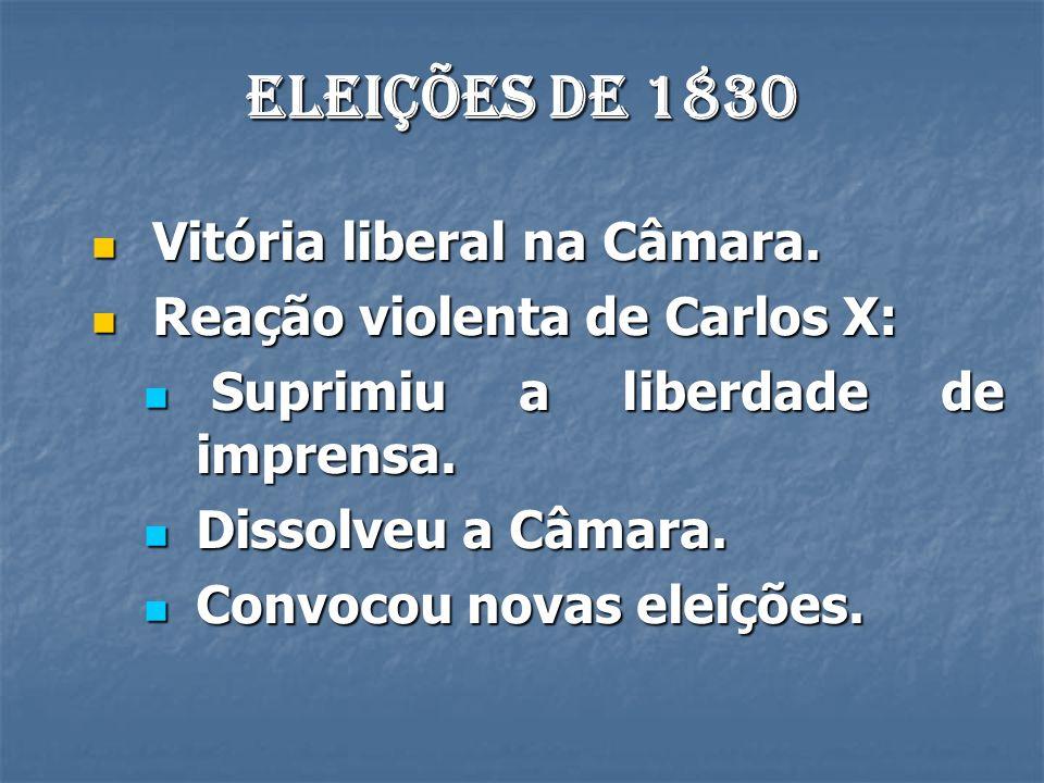 Eleições de 1830 Vitória liberal na Câmara.