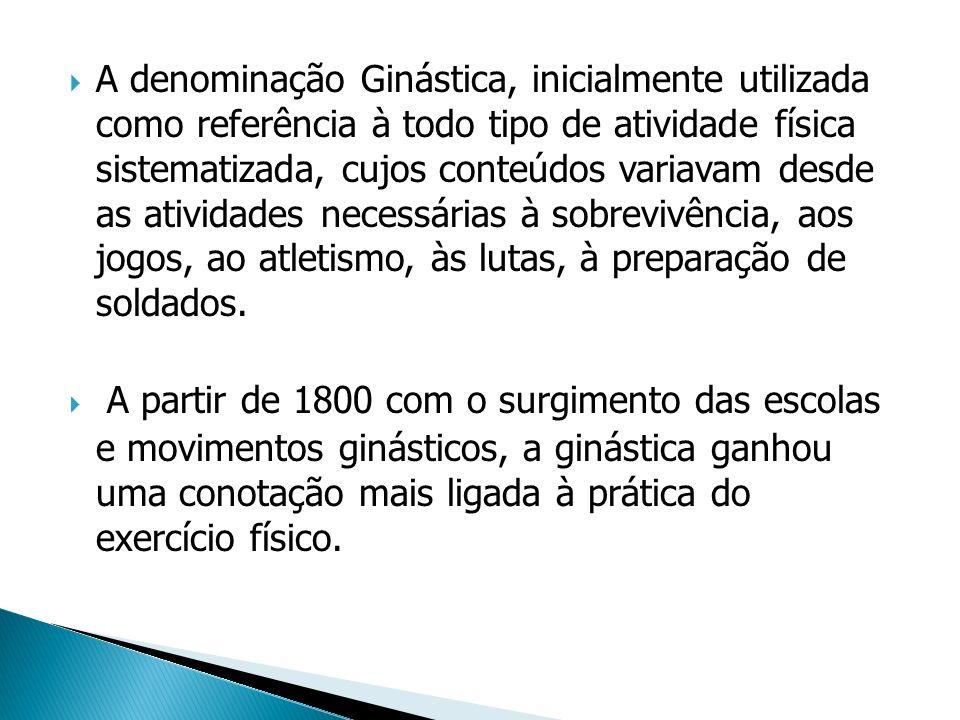 A denominação Ginástica, inicialmente utilizada como referência à todo tipo de atividade física sistematizada, cujos conteúdos variavam desde as atividades necessárias à sobrevivência, aos jogos, ao atletismo, às lutas, à preparação de soldados.