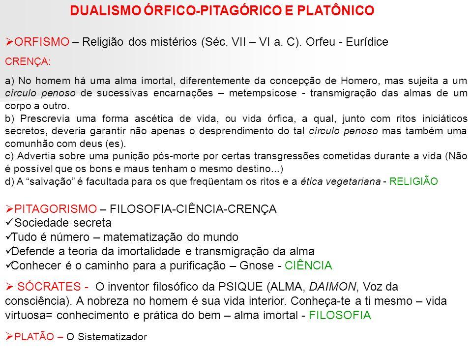 DUALISMO ÓRFICO-PITAGÓRICO E PLATÔNICO