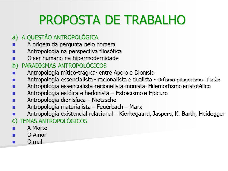 PROPOSTA DE TRABALHO a) A QUESTÃO ANTROPOLÓGICA