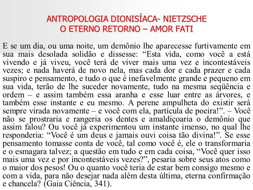 ANTROPOLOGIA DIONISÍACA- NIETZSCHE O ETERNO RETORNO – AMOR FATI