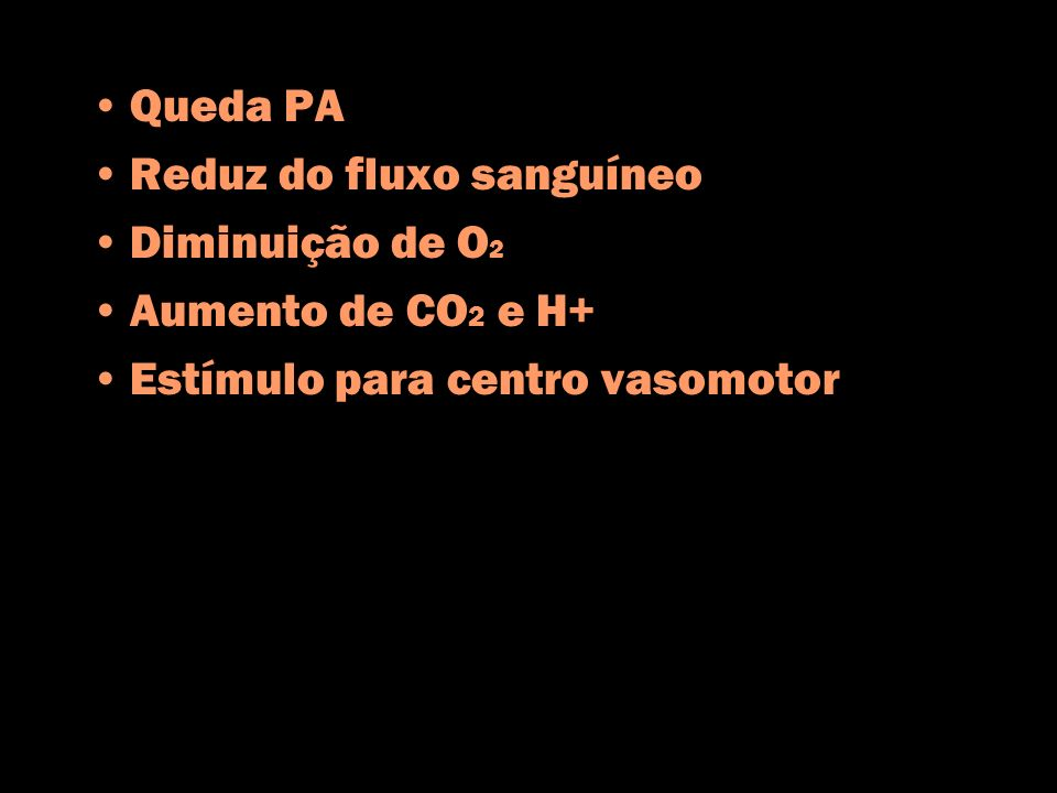 Queda PA Reduz do fluxo sanguíneo. Diminuição de O2.