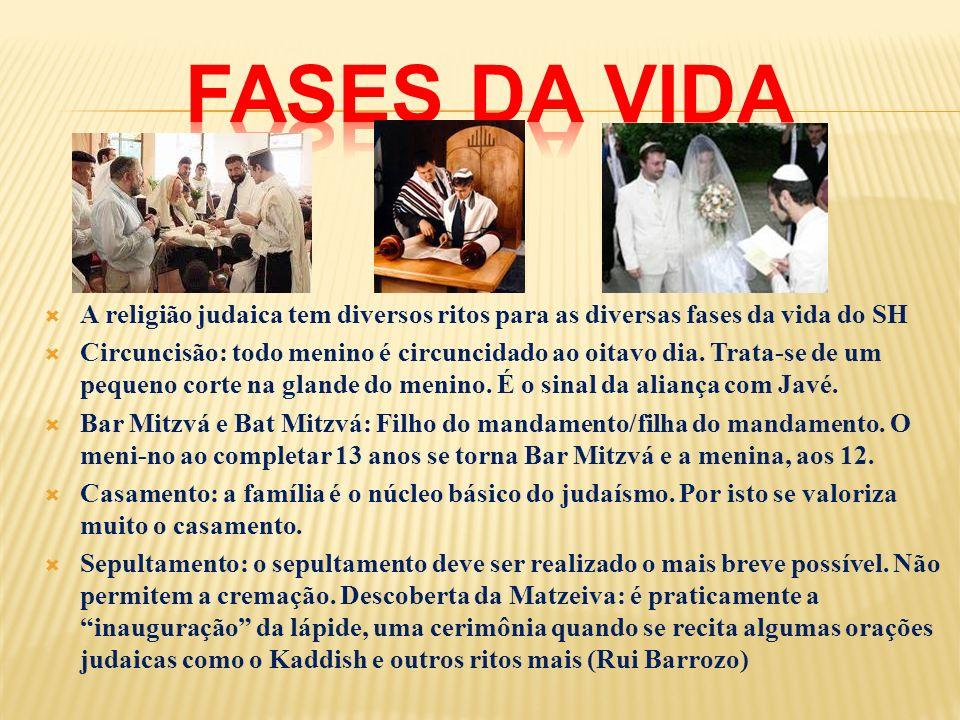FASES DA VIDA A religião judaica tem diversos ritos para as diversas fases da vida do SH.