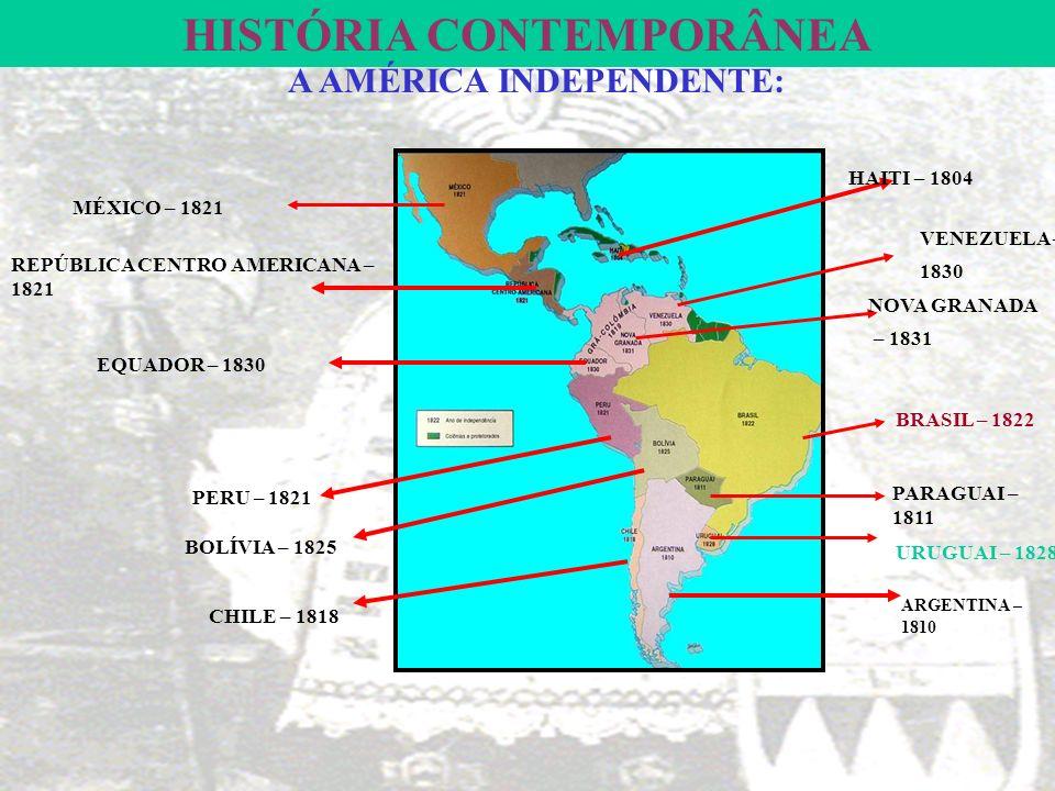 HISTÓRIA CONTEMPORÂNEA A AMÉRICA INDEPENDENTE: