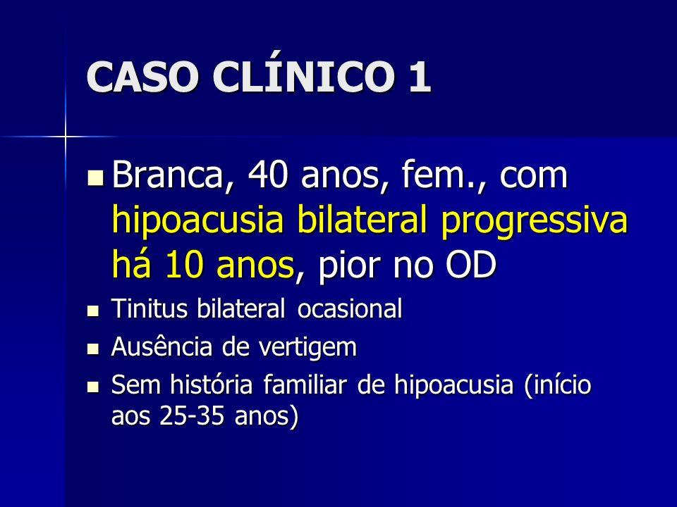 CASO CLÍNICO 1Branca, 40 anos, fem., com hipoacusia bilateral progressiva há 10 anos, pior no OD. Tinitus bilateral ocasional.