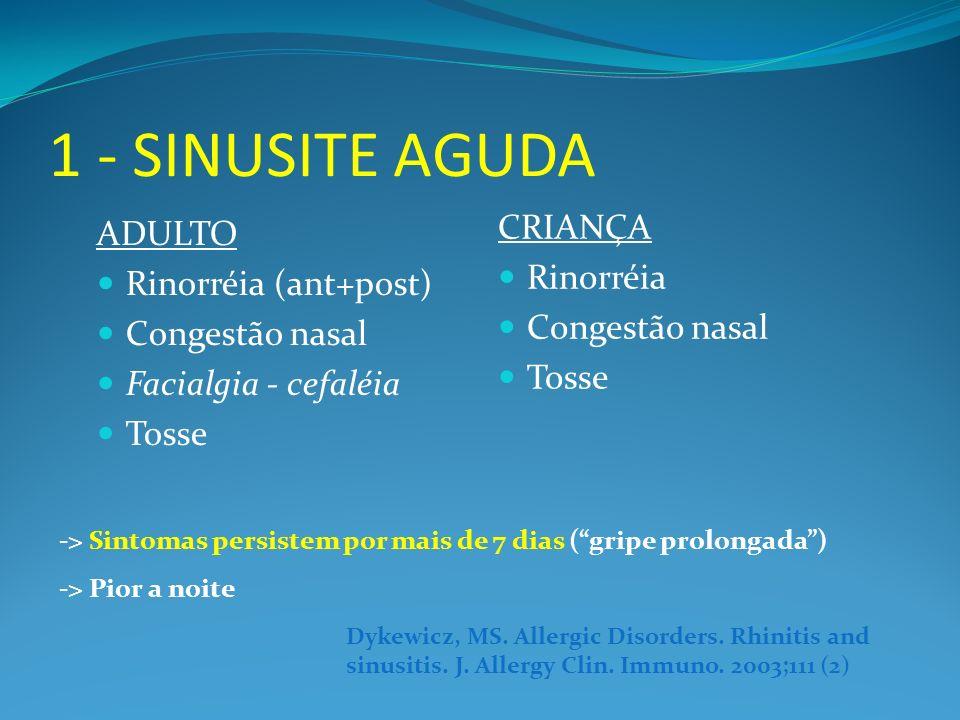 1 - SINUSITE AGUDA CRIANÇA ADULTO Rinorréia Rinorréia (ant+post)