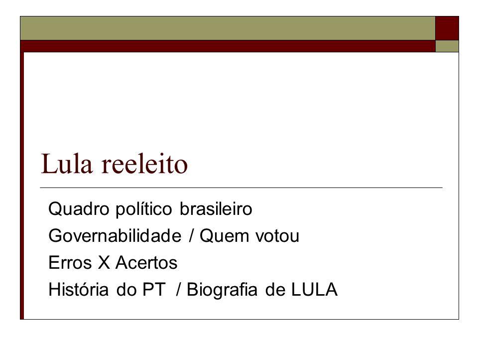 Lula reeleito Quadro político brasileiro Governabilidade / Quem votou