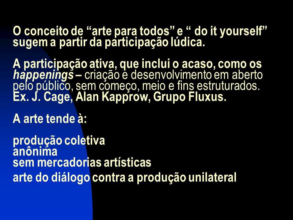 O conceito de arte para todos e do it yourself sugem a partir da participação lúdica.