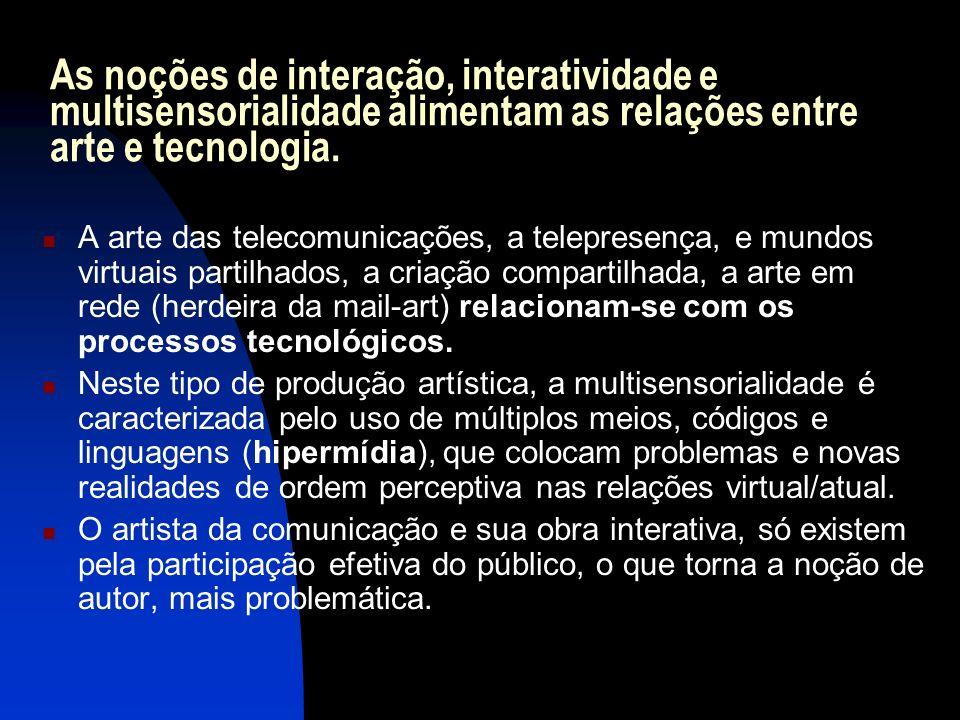 As noções de interação, interatividade e multisensorialidade alimentam as relações entre arte e tecnologia.