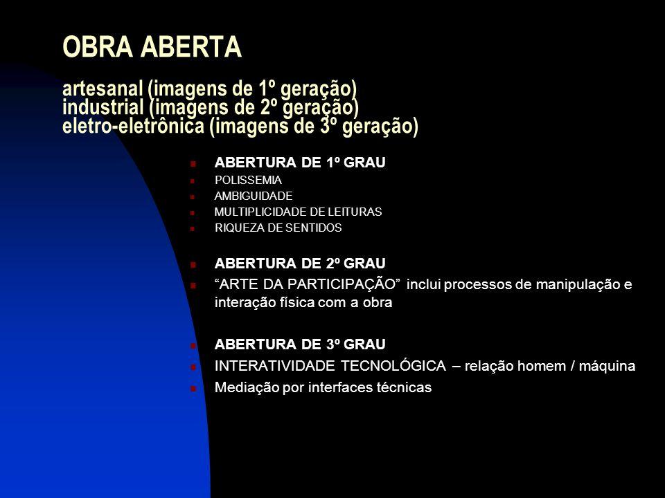 OBRA ABERTA artesanal (imagens de 1º geração) industrial (imagens de 2º geração) eletro-eletrônica (imagens de 3º geração)
