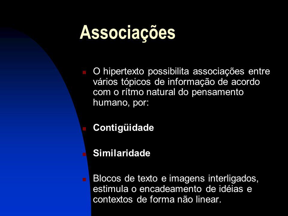 Associações O hipertexto possibilita associações entre vários tópicos de informação de acordo com o rítmo natural do pensamento humano, por: