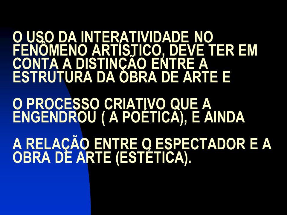 O USO DA INTERATIVIDADE NO FENÔMENO ARTÍSTICO, DEVE TER EM CONTA A DISTINÇÃO ENTRE A ESTRUTURA DA OBRA DE ARTE E O PROCESSO CRIATIVO QUE A ENGENDROU ( A POÉTICA), E AINDA A RELAÇÃO ENTRE O ESPECTADOR E A OBRA DE ARTE (ESTÉTICA).