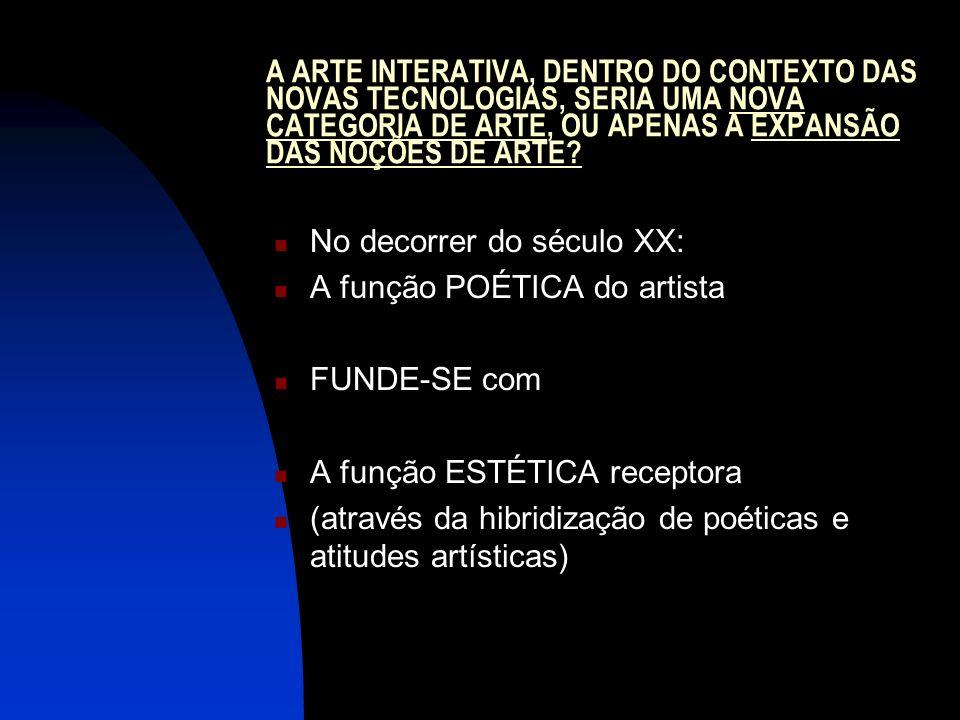 A ARTE INTERATIVA, DENTRO DO CONTEXTO DAS NOVAS TECNOLOGIAS, SERIA UMA NOVA CATEGORIA DE ARTE, OU APENAS A EXPANSÃO DAS NOÇÕES DE ARTE