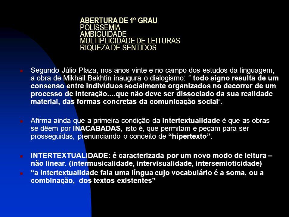 ABERTURA DE 1º GRAU POLISSEMIA AMBIGUIDADE MULTIPLICIDADE DE LEITURAS RIQUEZA DE SENTIDOS