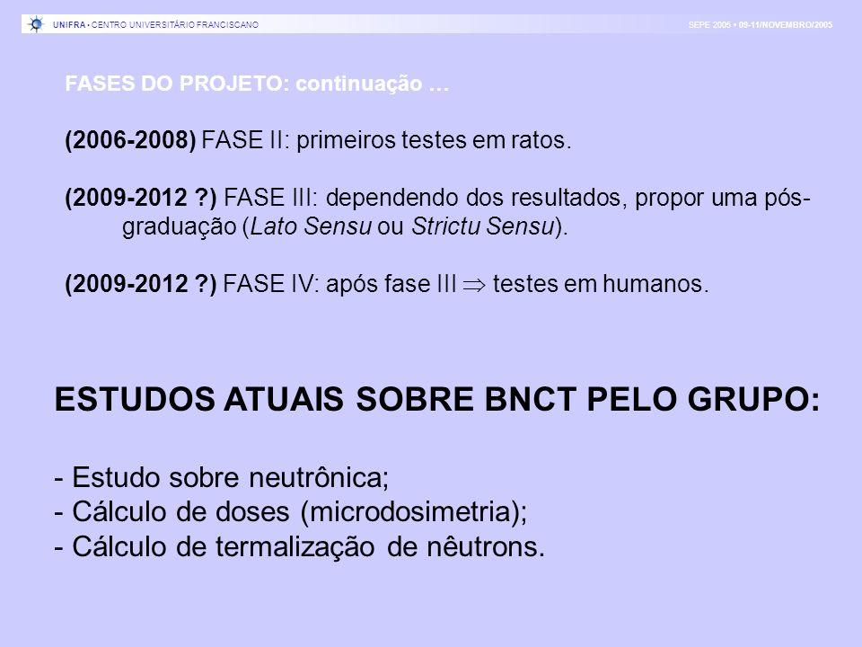 ESTUDOS ATUAIS SOBRE BNCT PELO GRUPO: