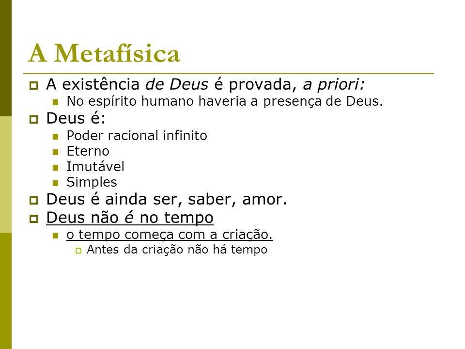 A Metafísica A existência de Deus é provada, a priori: Deus é: