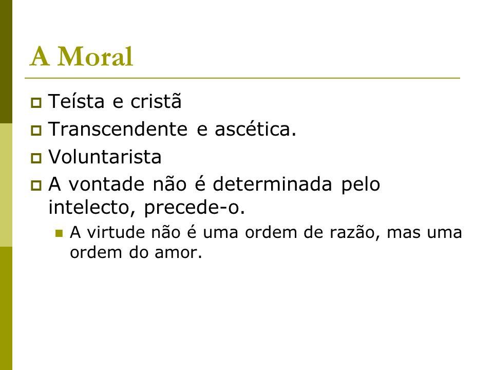 A Moral Teísta e cristã Transcendente e ascética. Voluntarista