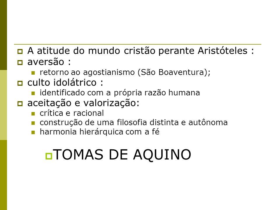 TOMAS DE AQUINO A atitude do mundo cristão perante Aristóteles :