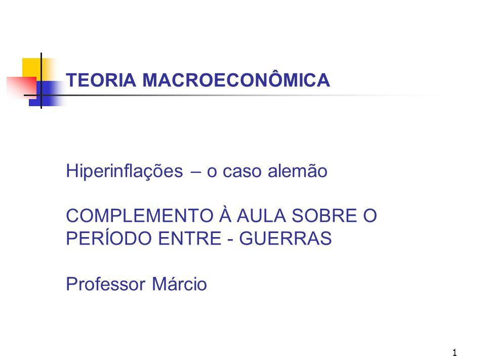 TEORIA MACROECONÔMICA Hiperinflações – o caso alemão COMPLEMENTO À AULA SOBRE O PERÍODO ENTRE - GUERRAS Professor Márcio
