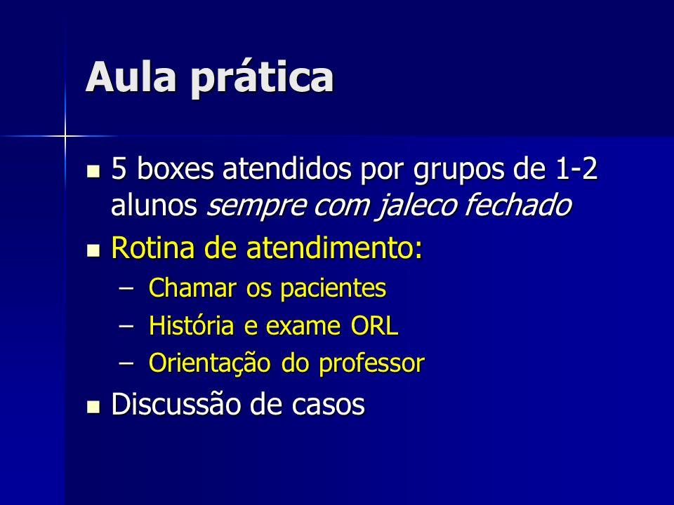 Aula prática 5 boxes atendidos por grupos de 1-2 alunos sempre com jaleco fechado. Rotina de atendimento: