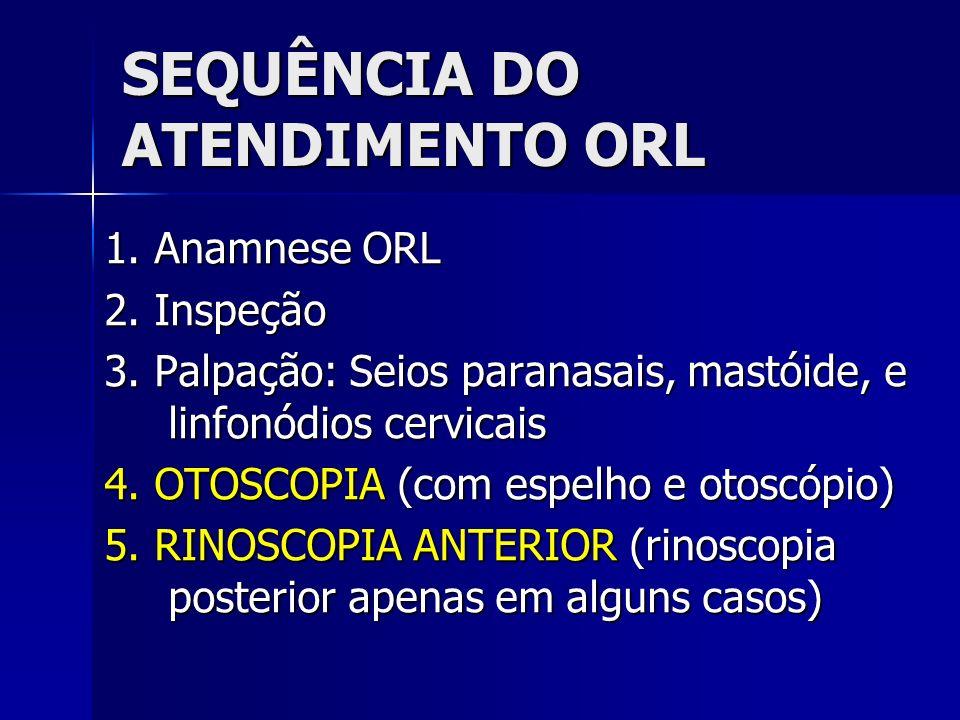SEQUÊNCIA DO ATENDIMENTO ORL