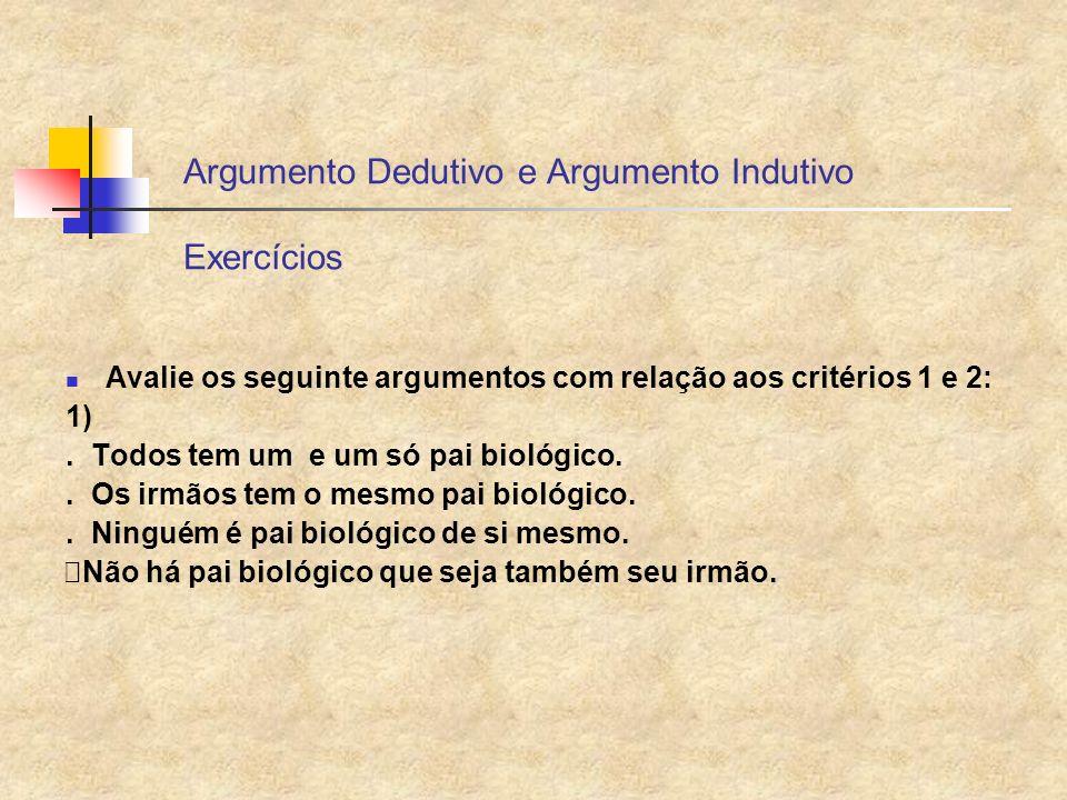 Argumento Dedutivo e Argumento Indutivo Exercícios