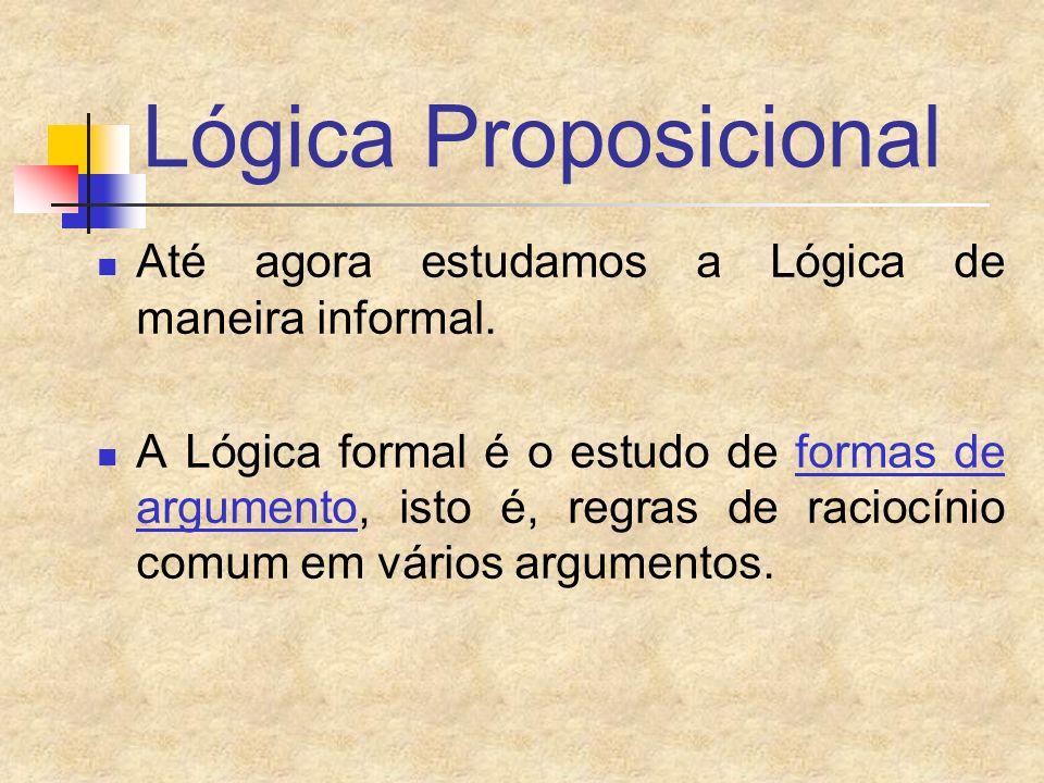 Lógica Proposicional Até agora estudamos a Lógica de maneira informal.