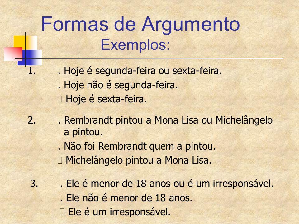 Formas de Argumento Exemplos: