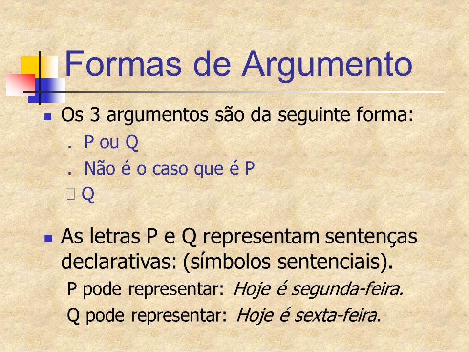 Formas de Argumento Os 3 argumentos são da seguinte forma: . P ou Q. . Não é o caso que é P.  Q.
