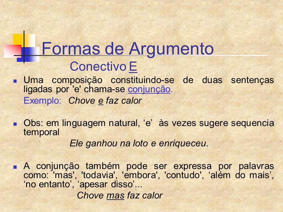 Formas de Argumento Conectivo E