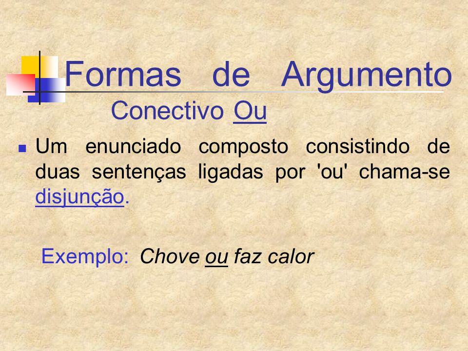 Formas de Argumento Conectivo Ou