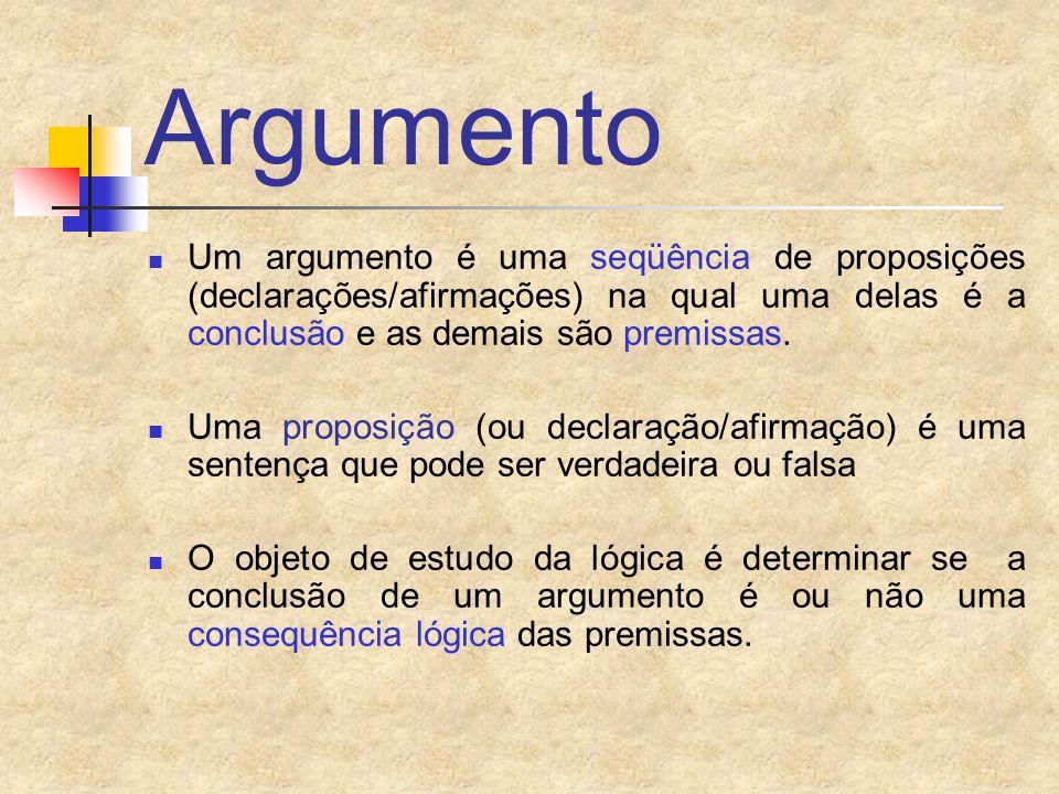 Argumento Um argumento é uma seqüência de proposições (declarações/afirmações) na qual uma delas é a conclusão e as demais são premissas.
