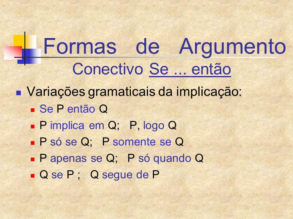Formas de Argumento Conectivo Se ... então