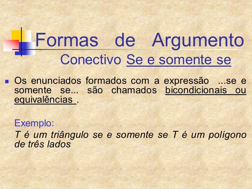 Formas de Argumento Conectivo Se e somente se