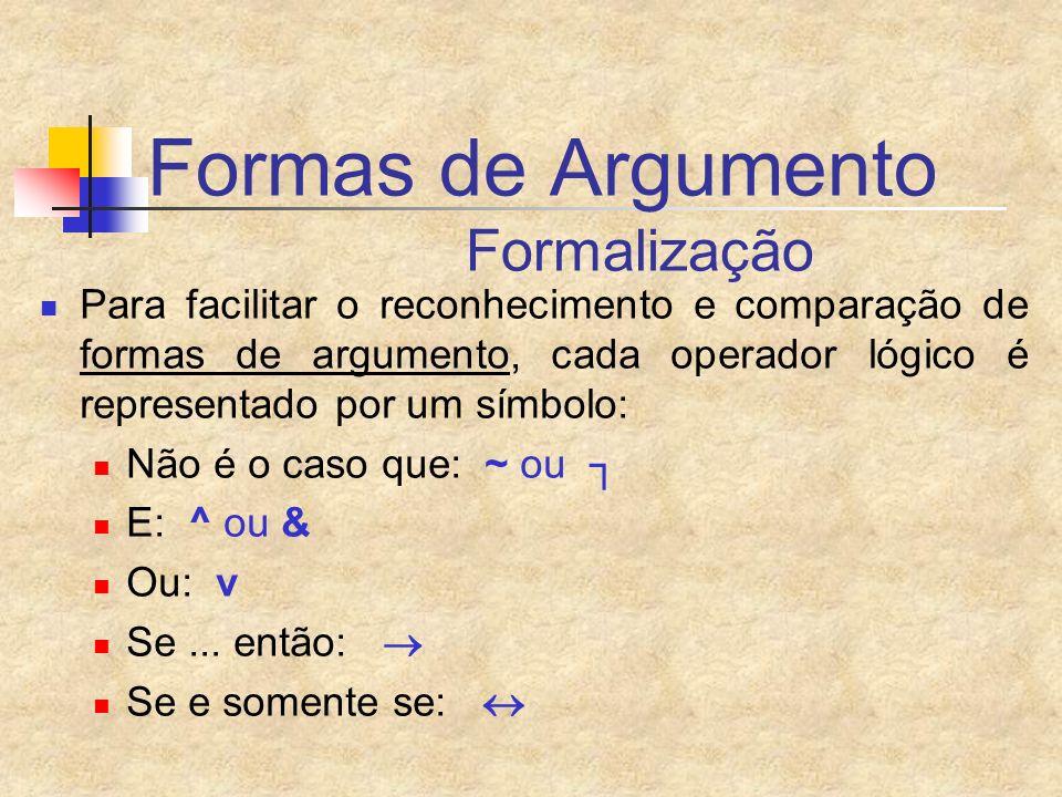 Formas de Argumento Formalização