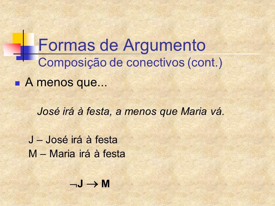 Formas de Argumento Composição de conectivos (cont.)